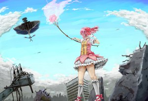 Rating: Safe Score: 29 Tags: bow bow_(weapon) clouds dress gloves kaname_madoka kneehighs mahou_shoujo_madoka_magica pink_hair ribbons short_hair sky twintails walpurgis_no_yoru weapon User: HawthorneKitty