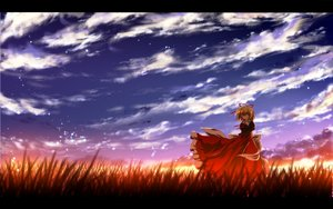 Rating: Safe Score: 67 Tags: blonde_hair blue_eyes bow clouds grass medicine_melancholy nekominase short_hair sky sunset touhou User: C4R10Z123GT