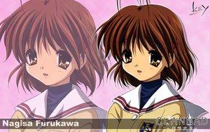Rating: Safe Score: 9 Tags: brown_eyes brown_hair clannad furukawa_nagisa key logo school_uniform short_hair zoom_layer User: Oyashiro-sama
