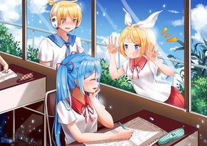 Rating: Safe Score: 98 Tags: blonde_hair blue_hair blush hatsune_miku headband headphones kagamine_len kagamine_rin long_hair male mamemena ribbons school_uniform short_hair twintails vocaloid User: Flandre93