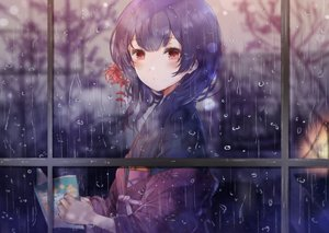 Rating: Safe Score: 56 Tags: book idolmaster idolmaster_shiny_colors japanese_clothes kimono long_hair morino_rinze namamake purple_hair rain red_eyes water User: BattlequeenYume