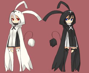 Rating: Safe Score: 102 Tags: 2girls animal_ears blue_eyes bunny_ears bunnygirl ganesagi original red_eyes tail User: Wiresetc