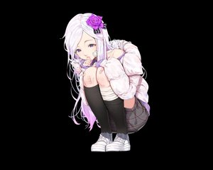 Rating: Safe Score: 67 Tags: agnamore aliasing bandage bandaid black kneehighs long_hair original purple_eyes skirt white_hair User: otaku_emmy