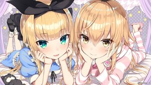 Rating: Safe Score: 159 Tags: 2girls aqua_eyes blonde_hair close greatmosu headband headphones hoodie ienaga_mugi jpeg_artifacts loli lolita_fashion long_hair mononobe_alice nijisanji pajamas socks teddy_bear watermark yellow_eyes User: OniiSama