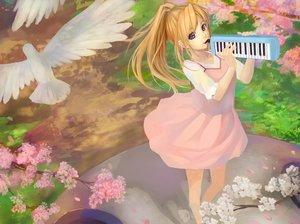 Rating: Safe Score: 55 Tags: animal bird blonde_hair blue_eyes cherry_blossoms dress grass instrument long_hair miyazono_kawori ponytail shigatsu_wa_kimi_no_uso User: humanpinka