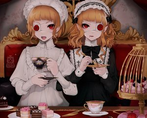 Rating: Safe Score: 35 Tags: blonde_hair cake cropped drink eyepatch food goth-loli headdress lolita_fashion male oncha original pointed_ears red_eyes short_hair trap vampire watermark User: sadodere-chan