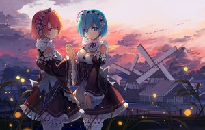 Rating: Safe Score: 13 Tags: 2girls apron aqua_eyes aqua_hair bow clouds dress haraguroi_you headdress maid pink_eyes pink_hair ram_(re:zero) rem_(re:zero) re:zero_kara_hajimeru_isekai_seikatsu short_hair sky twins windmill User: RyuZU