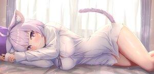 Rating: Safe Score: 65 Tags: animal_ears bed blush breasts catgirl cat_smile fang hololive nekomata_okayu purple_eyes purple_hair shirt tachibana_yuu tail User: BattlequeenYume