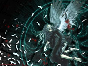 Rating: Safe Score: 54 Tags: barefoot blood bondage chain cross feathers gothic long_hair pointed_ears red_eyes white_hair wings User: Oyashiro-sama
