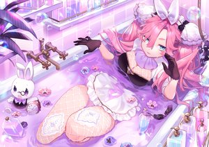 Rating: Safe Score: 66 Tags: animal apron aqua_eyes bath bathtub breasts bubbles cleavage flowers gloves headdress maid original pink_hair rabbit sa9no stockings waifu2x User: otaku_emmy