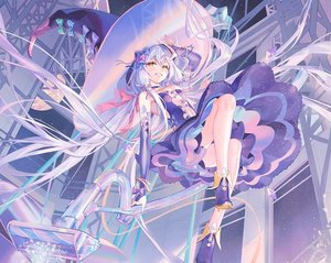 Rating: Safe Score: 77 Tags: atdan blue_hair boots choker cropped dress elbow_gloves gloves hat long_hair planet stars twintails vocaloid witch witch_hat wristwear xingchen yellow_eyes User: otaku_emmy