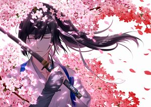 Rating: Safe Score: 32 Tags: all_male black_hair cherry_blossoms flowers gloves headband kazari_tayu long_hair male original petals ponytail ribbons sword weapon User: RyuZU