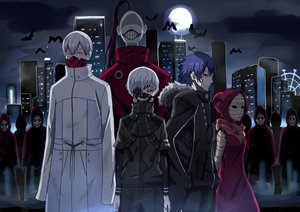 Rating: Safe Score: 34 Tags: animal bandage bird blue_hair building city group kaneki_ken kenkaizar long_hair male mask night ponytail purple_hair red_eyes short_hair sky tagme_(character) tokyo_ghoul white_hair User: RyuZU