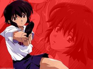 Rating: Safe Score: 4 Tags: black_hair gun noir short_hair weapon yuumura_kirika User: Oyashiro-sama