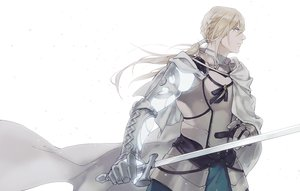 Rating: Safe Score: 34 Tags: all_male aqua_eyes armor bedivere blonde_hair braids cape fate/grand_order fate_(series) gloves himishiro long_hair male ponytail sword weapon white User: otaku_emmy