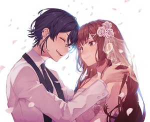 Rating: Safe Score: 15 Tags: 778-go black_hair closed_eyes elbow_gloves fang flowers gloves long_hair male original petals tie wedding wedding_attire User: mattiasc02