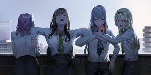 Rating: Safe Score: 90 Tags: ak12_(girls_frontline) an94_(girls_frontline) anthropomorphism ar-15_(girls_frontline) black_hair blonde_hair blue_eyes building cigarette city girls_frontline gray_hair group headband ihobus long_hair m4a1_(girls_frontline) rooftop sky smoking tie User: RyuZU
