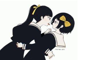 Rating: Safe Score: 20 Tags: 2girls ayu_(mog) black_eyes black_hair bow hug kanabun_(shoujo_tsubaki) long_hair midori_(shoujo_tsubaki) polychromatic ponytail school_uniform short_hair shoujo_ai shoujo_tsubaki signed User: otaku_emmy