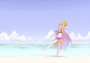 Rating: Safe Score: 140 Tags: ball beach bikini braids clouds ia long_hair sky swimsuit tomioka_jirou vocaloid water User: FormX