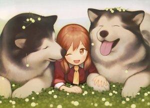 Rating: Safe Score: 36 Tags: animal brown_eyes brown_hair dog gayarou original scan tie twintails User: RyuZU