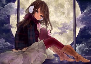 Rating: Safe Score: 140 Tags: boots brown_eyes brown_hair clouds earmuffs gloves moon night original pantyhose pisuke scarf User: HawthorneKitty