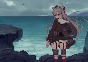 Rating: Safe Score: 163 Tags: amatsukaze_(kancolle) anthropomorphism ass clouds gray_hair kantai_collection long_hair misoni_comi panties school_uniform thighhighs twintails underwear water User: Flandre93