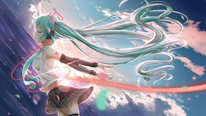 Rating: Safe Score: 49 Tags: aqua_eyes aqua_hair denfunsan hatsune_miku headphones sky twintails vocaloid water User: gnarf1975