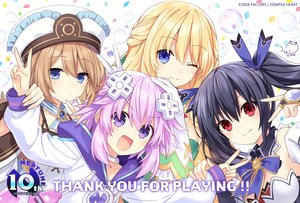 Rating: Safe Score: 55 Tags: black_hair blanc blonde_hair blue_eyes brown_hair compile_heart gloves group hat hyperdimension_neptunia logo long_hair neptune noire purple_eyes red_eyes short_hair signed tsunako twintails vert User: Nepcoheart