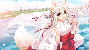 Rating: Safe Score: 89 Tags: animal_ears bell cherry_blossoms fang flowers foxgirl japanese_clothes long_hair miko original red_eyes saeki_touma tail white_hair User: RyuZU