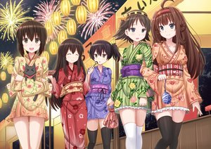 Rating: Safe Score: 123 Tags: akagi_(kancolle) animal anthropomorphism breasts cat cleavage crossover festival fubuki_(kancolle) group hiei_(kancolle) japanese_clothes kaga_(kancolle) kantai_collection kazenokaze kongou_(kancolle) nichijou sakamoto_(nichijou) summer thighhighs yukata User: gnarf1975