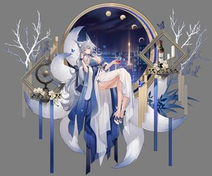 Rating: Safe Score: 47 Tags: animal_ears azur_lane blue_eyes blush breasts building butterfly city cleavage dress drink flowers foxgirl gray_hair long_hair moon multiple_tails night shinano_(azur_lane) sky soaryuna tail transparent User: BattlequeenYume