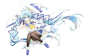 Rating: Safe Score: 19 Tags: aliasing animal aqua_eyes aqua_hair blush boots gloves hat hatsune_miku long_hair pantyhose rabbit ribbons skirt tagme_(artist) twintails vocaloid wand white witch_hat yuki_miku User: luckyluna