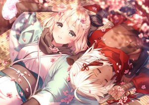 Rating: Safe Score: 57 Tags: 2girls cherry_blossoms dark_skin fate/grand_order fate_(series) flowers japanese_clothes okita_souji_alter okita_souji_(fate) petals rosuuri scarf short_hair sleeping watermark User: RyuZU