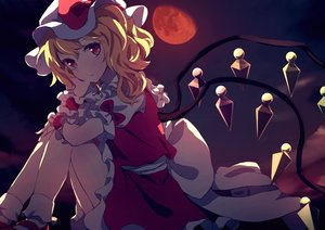 Rating: Safe Score: 66 Tags: blonde_hair dise flandre_scarlet moon ponytail red_eyes touhou vampire wings wristwear User: RyuZU