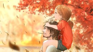Rating: Safe Score: 44 Tags: autumn blush brown_eyes brown_hair food leaves loli male original petals pocky short_hair signed tree you_(shimizu) User: RyuZU