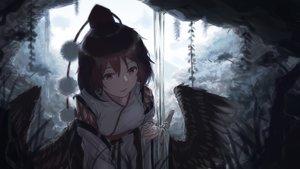 Rating: Safe Score: 80 Tags: brown_hair chun_lanlanlan shameimaru_aya short_hair touhou water waterfall wings User: RyuZU