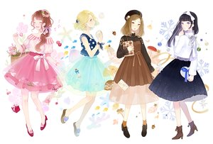 Rating: Safe Score: 43 Tags: aqua_eyes black_hair blonde_hair book bow brown_eyes brown_hair cherry dress flowers food fruit group headband long_hair original ponytail purple_eyes ribbons seuga short_hair skirt wristwear User: RyuZU