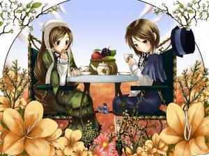 Rating: Safe Score: 8 Tags: 2girls bicolored_eyes flowers food fruit jpeg_artifacts rozen_maiden souseiseki suiseiseki twins User: 秀悟