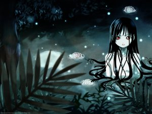 Rating: Safe Score: 38 Tags: black_hair enma_ai flat_chest flowers jigoku_shoujo long_hair nude pink_eyes red_eyes tree water wet User: Oyashiro-sama