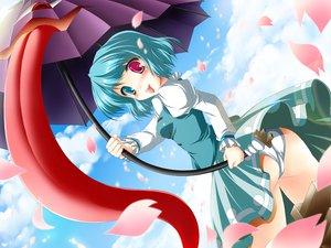 Rating: Safe Score: 31 Tags: ass bicolored_eyes cherry_blossoms flowers kamiya_tomoe panties petals sky tatara_kogasa touhou umbrella underwear User: korokun