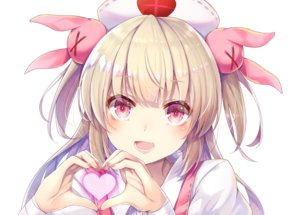 Rating: Safe Score: 88 Tags: blonde_hair blush close cyanomirahi headdress heart long_hair natori_sana nurse pink_eyes sana_channel twintails white User: otaku_emmy