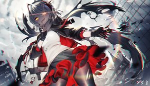 Rating: Safe Score: 119 Tags: arknights bai_yemeng clouds gray_hair gun headphones pantyhose ponytail ruins scarf signed skirt sky w_(arknights) weapon yellow_eyes User: BattlequeenYume