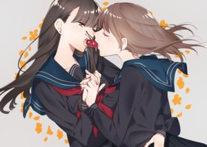 Rating: Safe Score: 43 Tags: 2girls brown_eyes brown_hair cherry food fruit hug long_hair original seifuku shoujo_ai sino42 skirt User: RyuZU