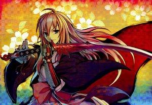 Rating: Safe Score: 48 Tags: armor cape cruccu ouka_ryoran pink_hair sword weapon User: acucar11