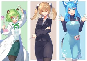 Rating: Safe Score: 42 Tags: aliasing animal_ears animare aqua_eyes aqua_hair blush bow brown_eyes brown_hair cat_smile glasses green_eyes green_hair hinokuma_ran inaba_haneru kokka_han long_hair pantyhose short_hair souya_ichika twintails User: RyuZU