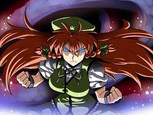 Rating: Safe Score: 46 Tags: blue_eyes bow braids hat hong_meiling long_hair red_hair touhou tsuki_wani User: 02