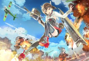 Rating: Safe Score: 86 Tags: 119 aircraft anthropomorphism bike_shorts brown_eyes brown_hair ha-class_destroyer kantai_collection short_hair shorts skirt taihou_(kancolle) thighhighs weapon User: Flandre93