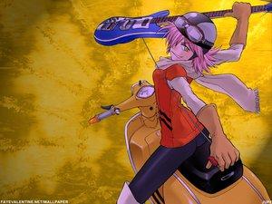 Rating: Safe Score: 13 Tags: flcl gloves goggles guitar haruhara_haruko hat instrument jpeg_artifacts kikumaru_bunta motorcycle pink_hair scarf short_hair watermark yellow yellow_eyes User: Oyashiro-sama