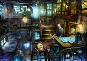 Rating: Safe Score: 275 Tags: all_male animal book brown_eyes brown_hair cage cat computer fan industrial male munashichi realistic scenic short_hair stairs User: HawthorneKitty