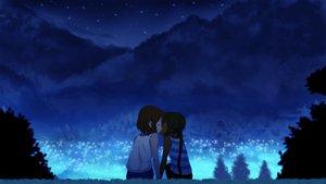 Rating: Safe Score: 108 Tags: 2girls black_hair brown_hair dark_skin hirasawa_yui kiss k-on! long_hair nakano_azusa night saiko_dagashi short_hair shoujo_ai twintails User: Ryukenji
